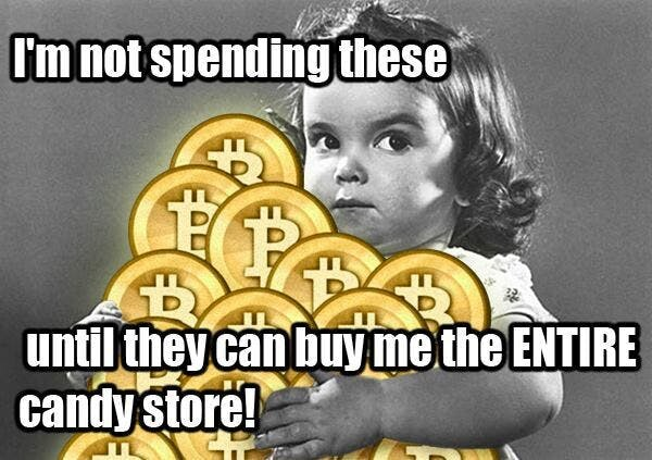 funny holding onto bitcoins meme